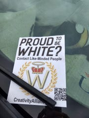 "Flyers asking ""proud to be white"" were found on the campus of the University of Southern Indiana on Tuesday."
