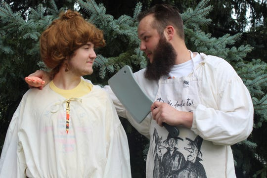 "Jacob Wylykanowitz, left, and Cyrus Foos rehearse their parts in Fremont Community Theatre's  ""The Complete Works of William Shakespeare (Abridged),"" which will be performed outdoors Friday and Saturday at Birchard Park."
