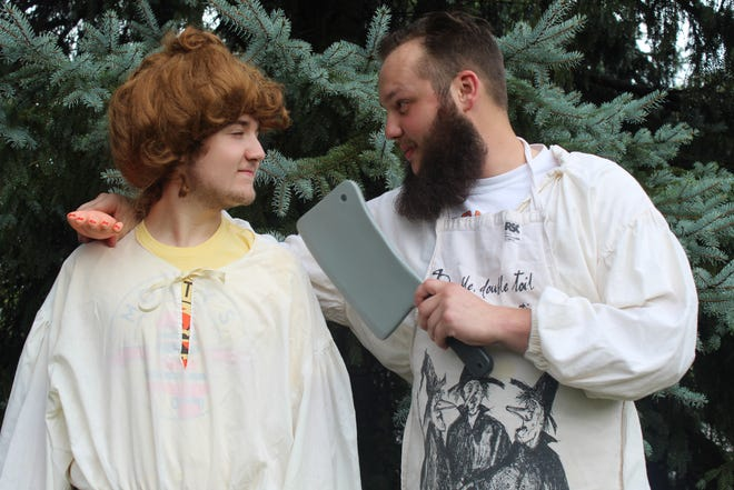 """Jacob Wylykanowitz, left, and Cyrus Foos rehearse their parts in Fremont Community Theatre's  """"The Complete Works of William Shakespeare (Abridged),"""" which will be performed outdoors Friday and Saturday at Birchard Park."""