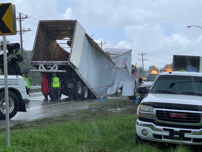 The trailer section of a semi truck collapsed Wednesday morning along Bayshore Road at state Road 31, blocking a section of the road.