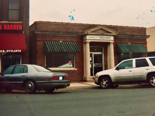 This is a photo taken in 2004 showing the location of The Farmington Independent and The Rosemount Town Pages, which operated from a building that was a former bank in the suburbs of Minnesota's Twins Cities. Both of the papers shut down last week.