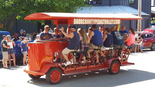 The Door County Pedal Trolley had its first public ride in Egg Harbor's 4th of July parade.