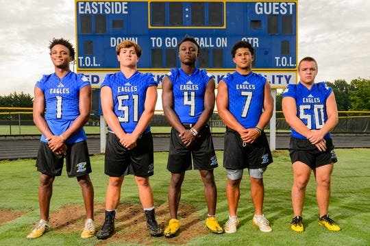 From left, Kodi Jones (1), Alex Shirley (51), Payton Mangrum (4), Max Louris (7) and Ryan Augustine (50) lead Eastside into the 2019 season.