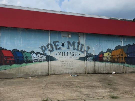 A mural at the corner of Shaw Street and Buncombe Road is a marker for Greenville's Poe Mill neighborhood.