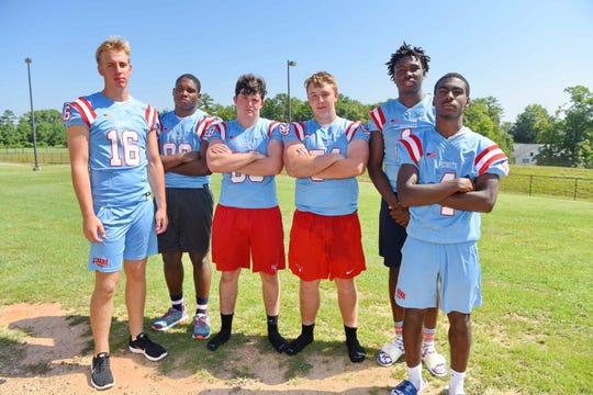 J.L. Mann 2019 football players from left, Noah Staples (QB), Robert Dorsey (OL/DL), Ben Peck (TE/DL), Connor Wolfe (OL/DL), Deonte Sloan (WR) and Emmanuel Heaggans (WR/DB).