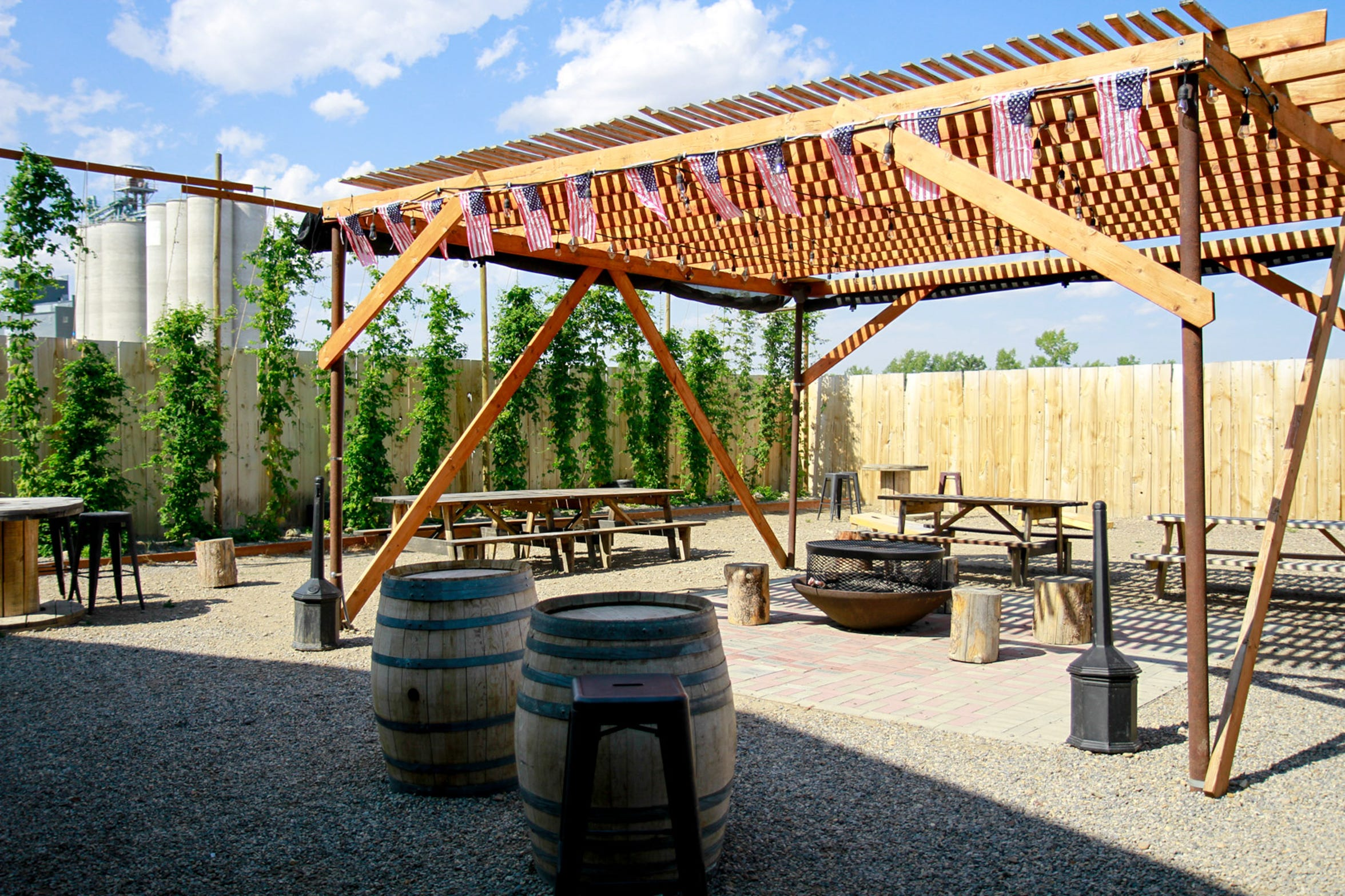 The outside area of the Cut Bank Creek Brewery