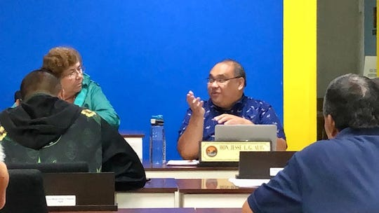 Piti Mayor Jesse L.G. Alig gestures as he talks to members of the Mayors' Council of Guam Wednesday about the citation he recently issued involving a property owner's dog that's been attacking people in the neighborhood.