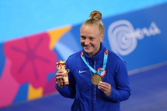 LIMA, PERU - AUGUST 02:  Sarah Bacon of United States shows her gold medal in Women's Diving 1m Springboard on Day 7 of Lima 2019 Pan American Games at Aquatics Center of VIDENA on August 02, 2019 in Lima, Peru.