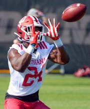 Indiana Hoosiers running back Sampson James (24) catches a pass during a drill during the first day of fall camp at Mellencamp Pavilion in Bloomington, Ind., on Friday, August 2, 2019.