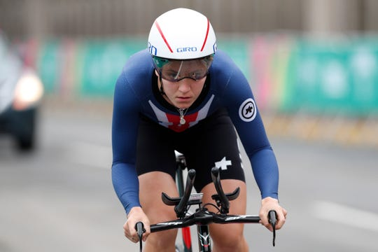 Chloe Dygert of the United States competes in the women's road cycling individual time trial finals at the Pan American Games in Lima Peru, Wednesday, Aug. 7, 2019. Dygert won gold. (AP Photo/Juan Karita)