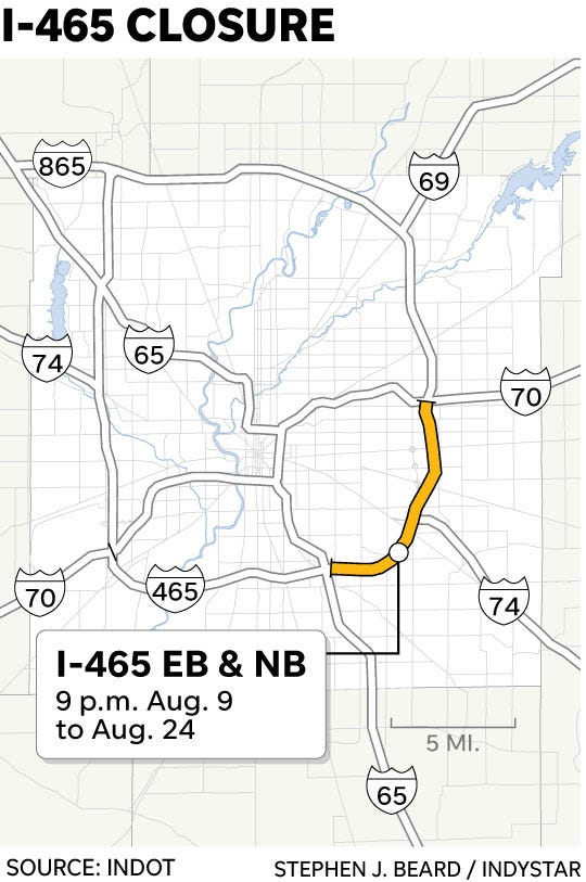 Indianapolis traffic: I-465 detours to avoid closures