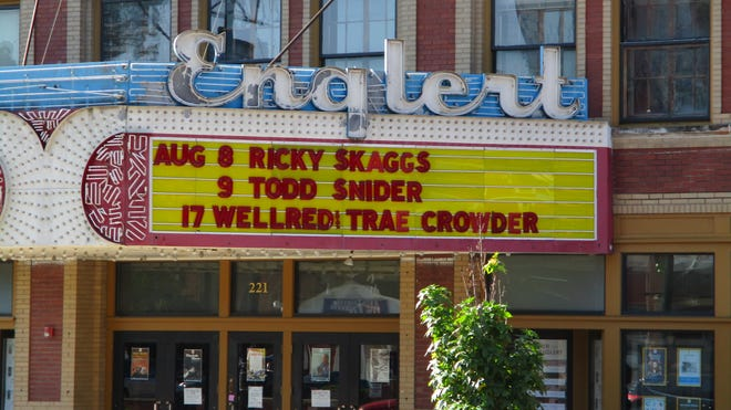 The Englert Theatre advertising upcoming performances the morning of Aug. 7, 2019.