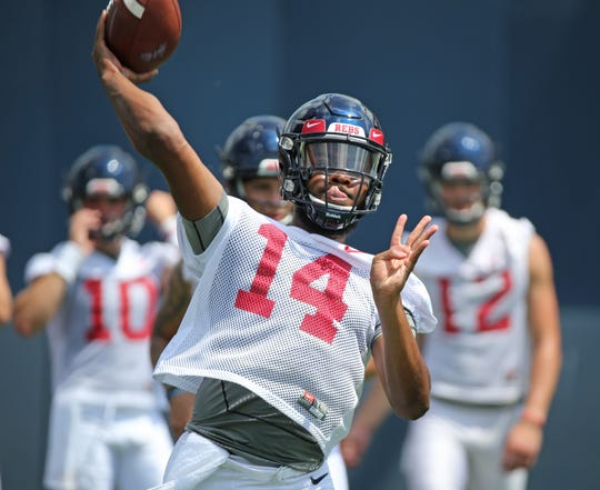 Former Ole Miss quarterback Grant Tisdale (14) transferred out of the program last week.