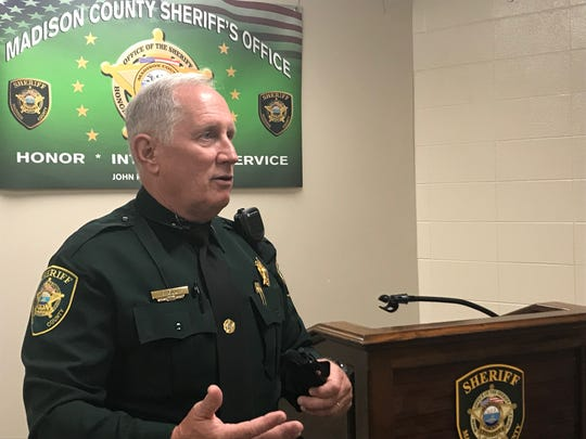 Madison County Sheriff's Office Patrol Lieutenant Joseph Gill holds a tourniquet as he explains how the public can be prepared for an active shooter situation at the Madison County Sheriff's Office in Denmark, Tenn. on Aug. 6, 2019.