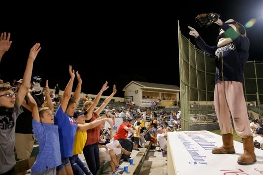 Aviators mascot Ace pumps up the crowd during the ninth inning of a prospect league baseball game, Tuesday, Aug. 6, 2019 at Loeb Stadium in Lafayette. The Champion City Kings won, 12-11 in 10 innings.
