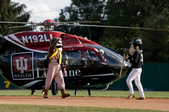 A IU Health Lifeline Eurocopter EC145 helicopter carrying Aviators mascot Ace and Purdue Pete lands behind second base before the last aviators game, Tuesday, Aug. 6, 2019 at Loeb Stadium in Lafayette.
