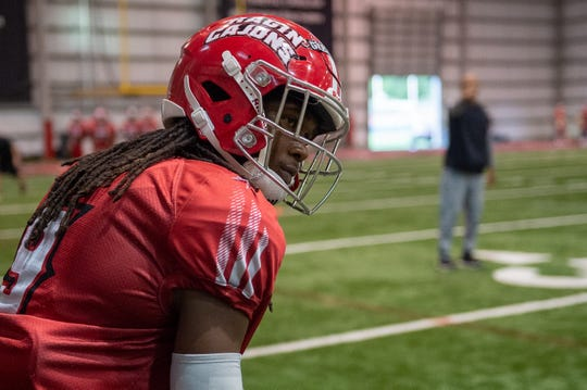 UL cornerback Kamar Greenhouse, shown here during preseason camp last Tuesday, has high expectations heading into his senior season.