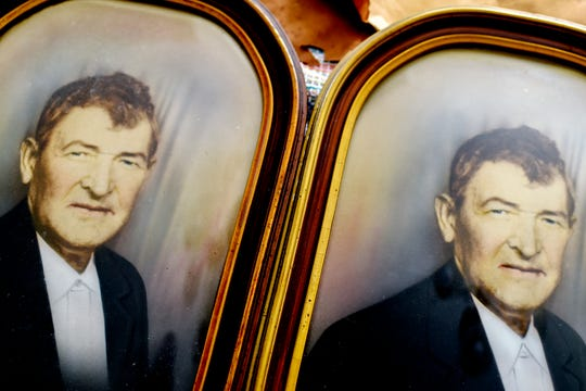 At left, a photograph of Ken Stone's grandfather James Caldwell, and, at right, an exact copy of the photograph that Stone recently found at The Mega Mall, an antiques and collectibles market in DeWitt Township.
