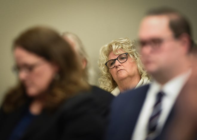 Former MSU gymnastics coach Kathie Klages waits to appear before Judge Joyce Draganchuk during the sentencing of William Strampel, former dean at the College of Osteopathic Medicine at Michigan State University, at Veterans Memorial Courthouse Wednesday, Aug. 7, 2019.