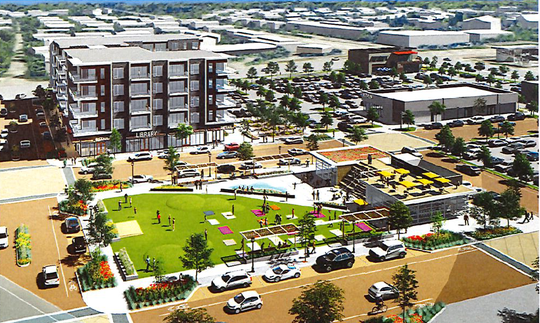 OneNorth would feature a public plaza in the middle of the 10-building development.