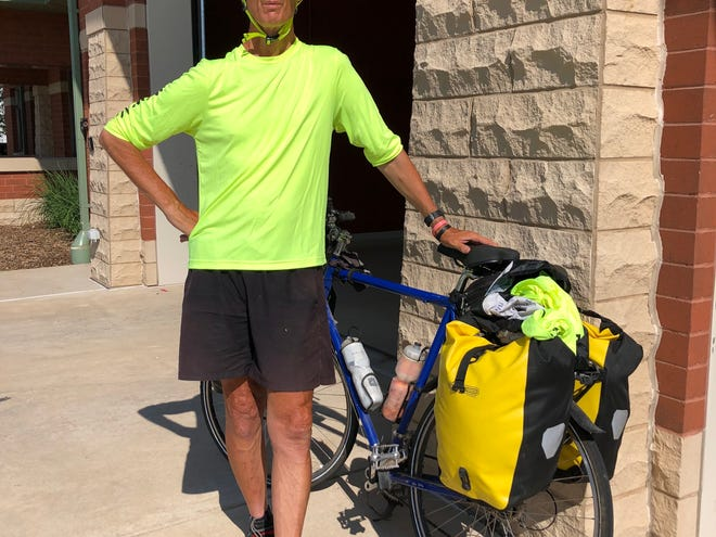 Jon Olson of Milwaukee, who was on a cross-country trek to raise money for the Muscular Dystrophy Association, was one of two cyclists struck by a vehicle and seriously injured in Michigan.