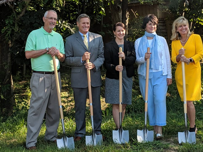Participants in the groundbreaking for the We Energies Foundation Healing Garden in Franklin Wednesday included (from left): Michael Murry, chairman of the Conservancy for Healing and Heritage; Kevin Fletcher, chairman and CEO of WEC Energy Group; Trisha Bournelis, communications leader, WEC Energy Group; Susan Rabe, president and CEO of the Conservancy for Healing and Heritage; and Beth Straka, senior vice president of WEC Energy Group.