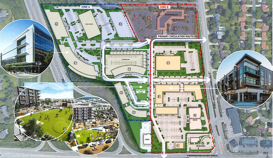 This overview of OneNorth shows how the 10 buildings would be positioned, with taller buildings closer to I-43.