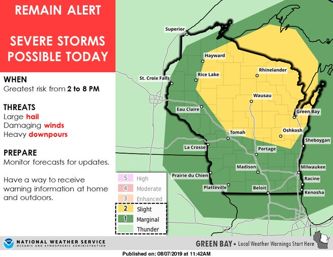 Severe storms are possible across Wisconsin on Wednesday. The area of greatest risk covers north central and northeast Wisconsin.