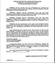 Resolution to revoke Yellowhammer cafe's business license