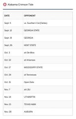 Alabama's 2020 schedule courtesy of the SEC. (Screen grab by Alex Byington)