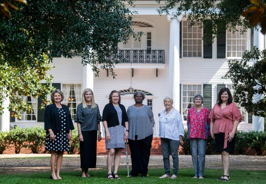 Female elected officials from Prattville and Autauga County, from left, Autauga County Revenue Commissioner Kathy Evans, Prattville City Council President Pro-Tempore Denise Brown, Autauga County Circuit Clerk Deb Hill, Autauga County Board of Education member Ledronia Goodwin, Autauga County Commissioner Sid Thompson, Autauga County Board of Education member Eleanor Ballow and Autauga County Probate Judge Kim Kervin gather for a photograph together at Buena Vista in Prattville, Ala., on Tuesday August 6, 2019.