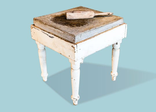 "A beaten biscuit table (1850-1860) and beater (early 20th century) are among the artifacts in the new Tennessee State Museum exhibition on Tennessee foodways, ""Let's Eat! Origins and Evolutions of Tennessee Food."""