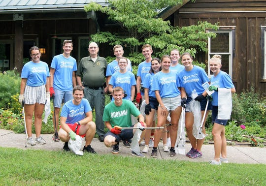 "Thirteen college students from Poland and Latvia enthusiastically participated in the clean up at Fairview's Bowie Nature Park on August 3, 2019 as part of ""Exchange Visitors Day."""