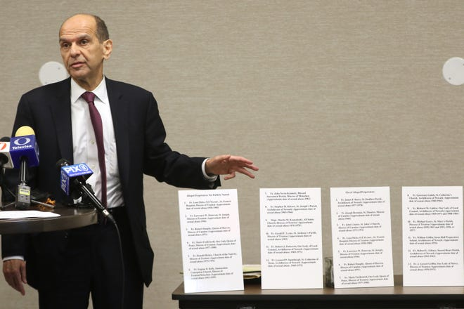 Attorney, Mitchell Garabedian, is shown during a press conference, by the  names of 28 Catholic priests who allegedly sexually abused children. Wednesday, August , 2019