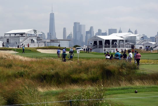 The lower Manhattan skyline is seen in the distance during the practice round of the Northern Trust Open at Liberty National Golf Course on Wednesday, August 7, 2019, in Jersey City.