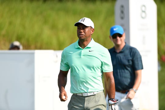 Tiger Woods walks towards the eighth fairway during the practice round of the Northern Trust Open at Liberty National Golf Course on Wednesday, August 7, 2019, in Jersey City.