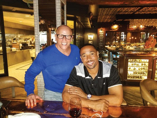 Mark Lepselter with former NFL all-pro and Super Bowl winner now turned analyst on NBC, Rodney Harrison