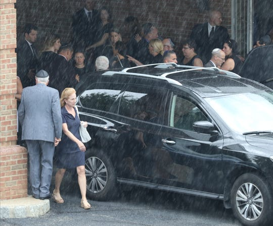 The casket of David Kimowitz was loaded into a hearse after it was removed from the Bernheim-Apter-Kreitzman Suburban Funeral Chapel on August 7, 2019 in Livingston, NJ. Kimowitz was stabbed to death on Saturday inside his Maplewood home.