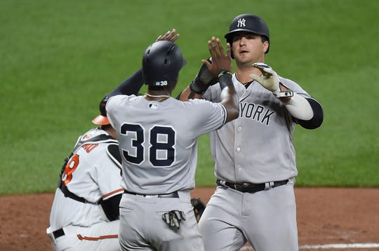 Mike Ford #74 and Cameron Maybin #38 of the New York Yankees celebrate after scoring in the fourth inning against the Baltimore Orioles at Oriole Park at Camden Yards on August 6, 2019 in Baltimore, Maryland.