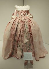 One of the elaborate paper costumes made by Isabelle de Borchgrave and featured in the exhibit is shown here. Each of  the details in the dress is made of paper, even the matching shoes are paper. Viewers were amazed at the details