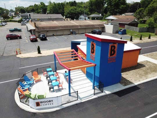 A drone image of the BCubed modular coffee shop in Battle Creek. Others, including one in Wixom near Meijer, are planned in the future.