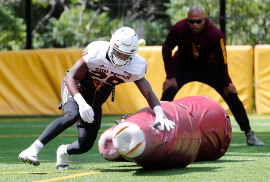ASU linebacker Ely Doyle (29) performs a drill during practice at Camp Tontozona August 7, 2019.