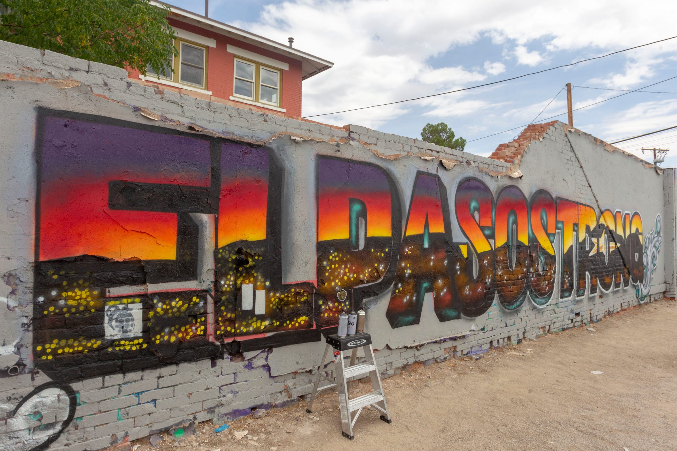 "Gabe Vasquez and Justin Martinez co-created an ""El Paso Strong"" mural in El Paso on Aug. 6, 2019."