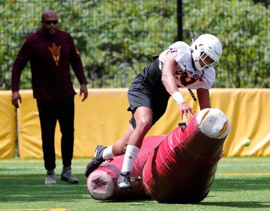 ASU defensive lineman Amiri Johnson (99) performs a drill during practice at Camp Tontozona August 7, 2019.