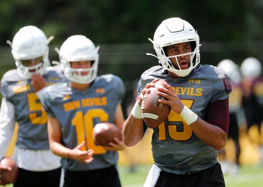 ASU quarterback Dillon Sterling-Cole (15) performs a drill during practice at Camp Tontozona August 7, 2019.