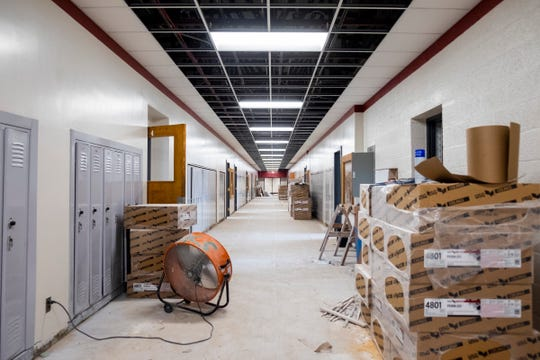Renovations are being done on Fort Gratiot Middle School as part of the $105.9 million bond program approved by voters in August 2016. Additional lockers and new floors and ceilings are being installed in the school's hallways.