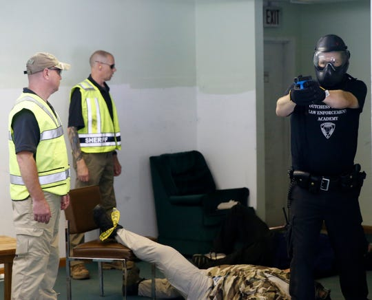 Officer recruits participate in an active shooter training program with the Dutchess County Law Enforcement Police Academy in the Town of Poughkeepsie on August 7, 2019.