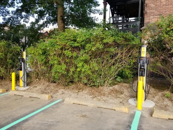 Electric car charging stations at the Duro Parking Lot on Main Street.