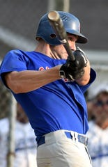Conrads' Rick Thompson hits an RBI single against Hallam during Susquehanna League playoff action at Hallam Tuesday, Aug. 6, 2019. Bill Kalina photo