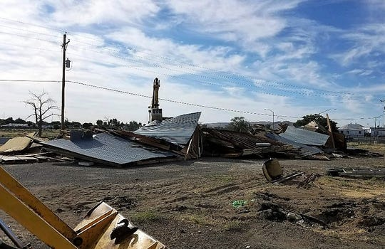The old Cowboy Saloon in Fernley was demolished Tuesday.